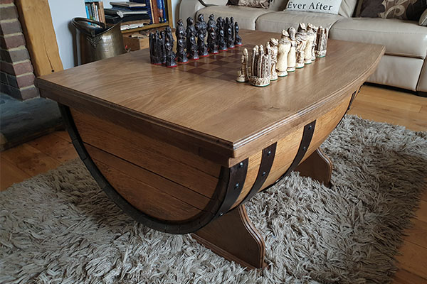 Barrel chess set from Bespoke Furniture Makers in West Sussex and Surrey